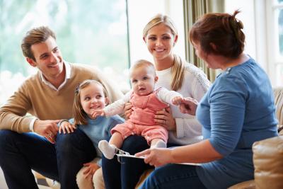 coman counseling a family